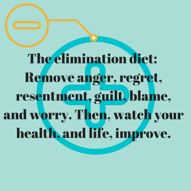 The elimination diet- Remove anger, regret, resentment, guilt, blame, and worry. Then, watch your health, and life, improve.