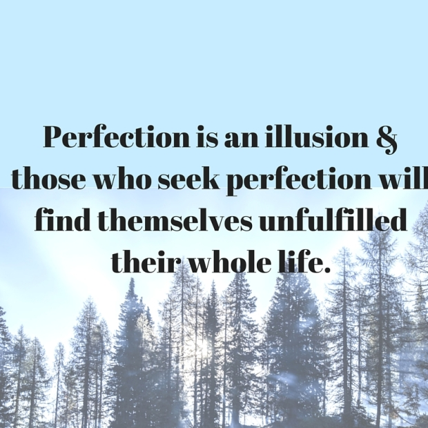 Perfection is an illusion & those who seek perfection will find themselves unfulfilled their whole life.